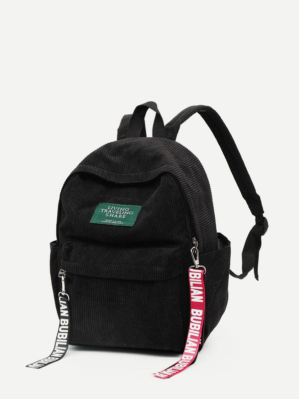 Sophia Corduroy School Backpack (Black)