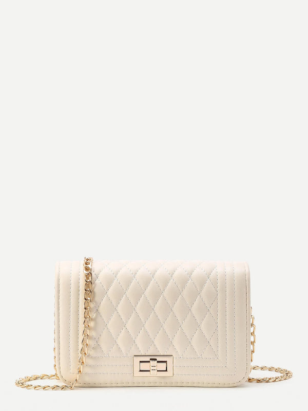 Gisele White Quilted Crossbody Bag
