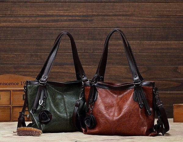 Beatrix Oversized Vintage Leather Shoulder Tote Bag