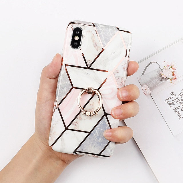 LMDS Geometric Marble Patterned IPhone Case with WMD Electroplated Back Cover Coque