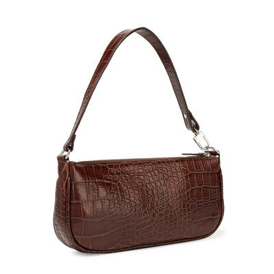Croc Embossed leather Baguette Shoulder Bag