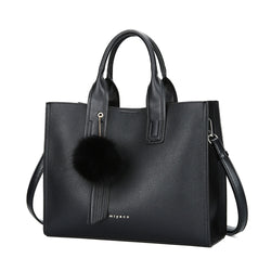 Anais Oversized Leather Women's Shoulder Tote Bag With Pom Pom