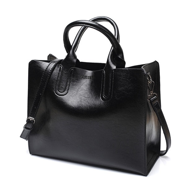 Eloise Oversized Leather Women's Shoulder Tote Bag