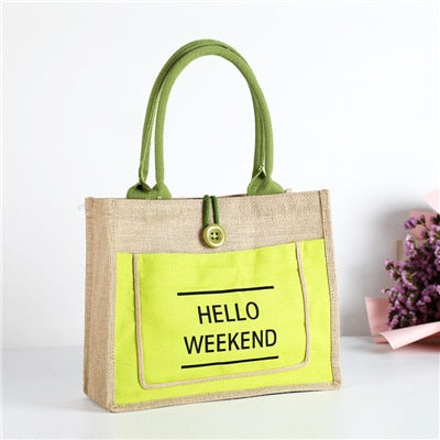 Sac de magasinage de luxe en lin écologique Hello Weekend
