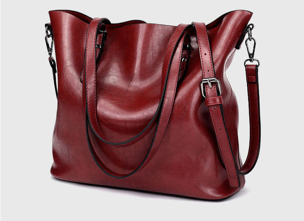 Margot's Large Women's Leather Shoulder Tote Bag