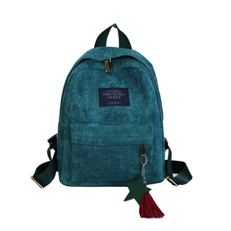 Blaise School Travel Corduroy Zipper With Tassel Backpack