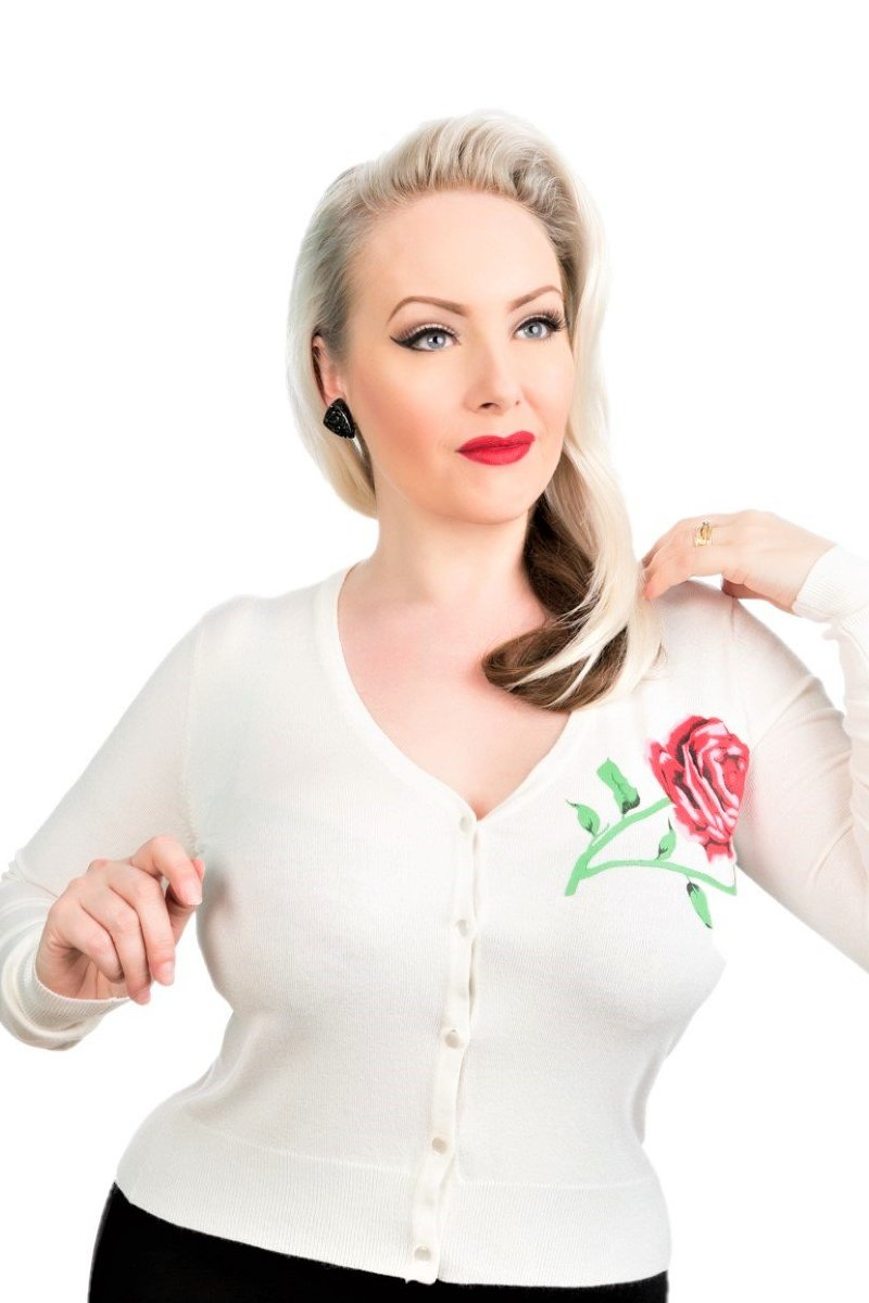 0101R Rose Cardigan in Light Ivory