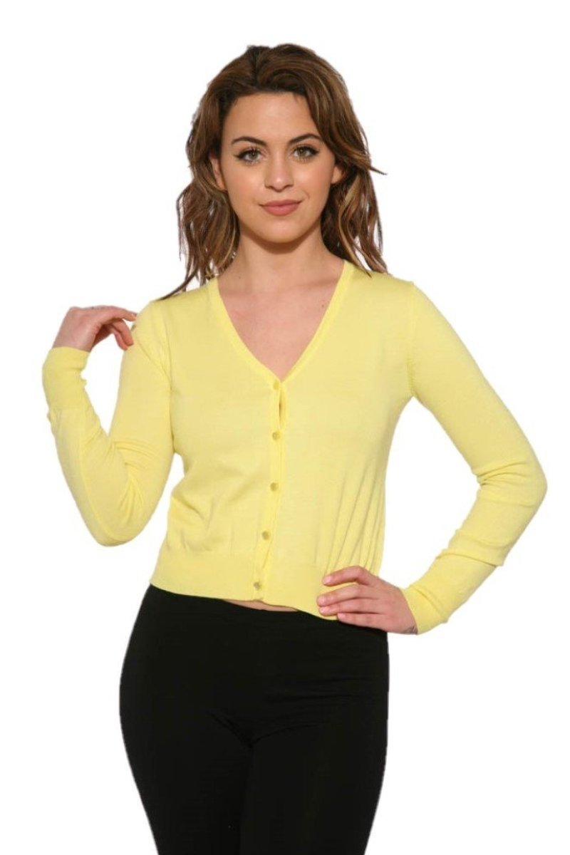 0101 V-Neck Cardigan in Yellow