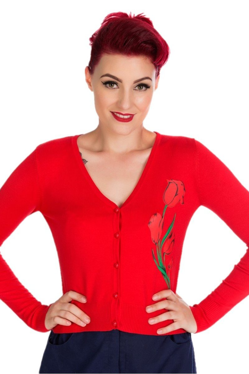 0103 Long Stem Rose Cardigan in Red