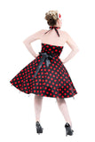 0211 Minnie Halter Dress in Black with Red Dots