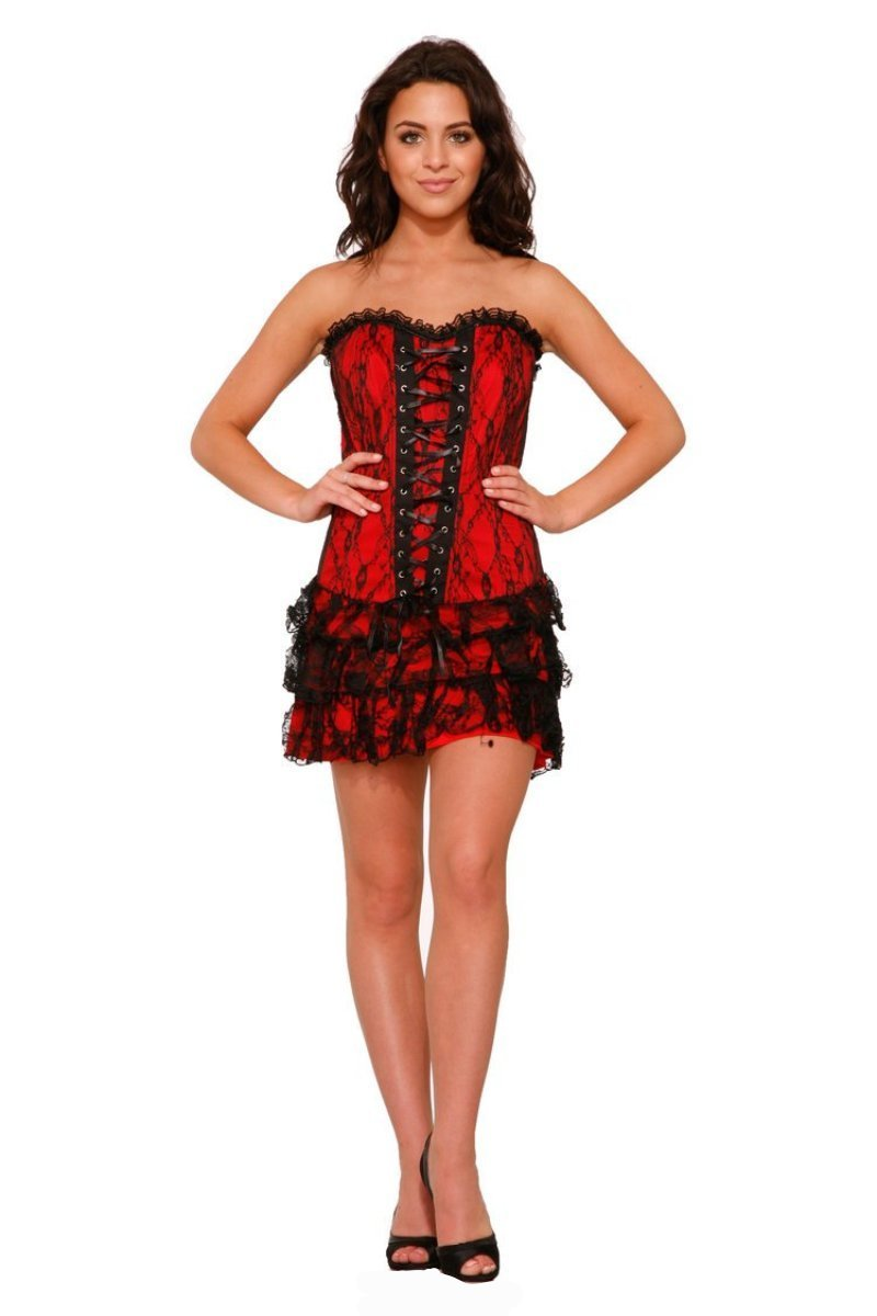 0227 Corset Mini Dress in Sexy Boudoir Red