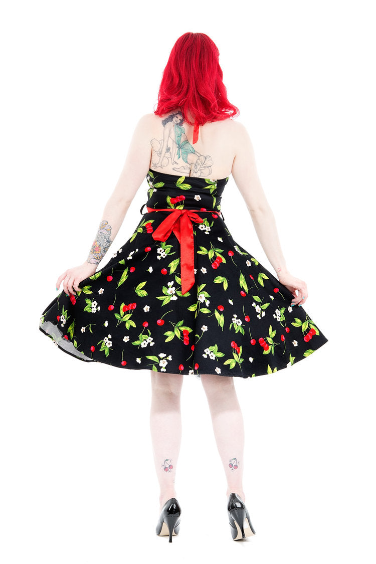 0516 Cherry Blossom Halter Swing Dress in Black