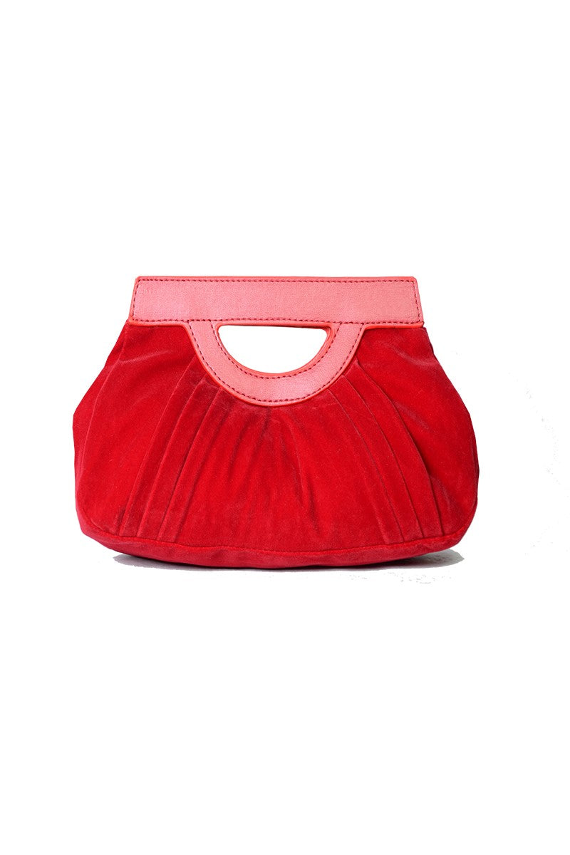 099 Red Glamour Clutch in Velvet
