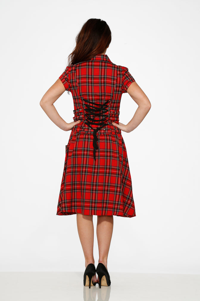 10221 Red Plaid Detention Dress