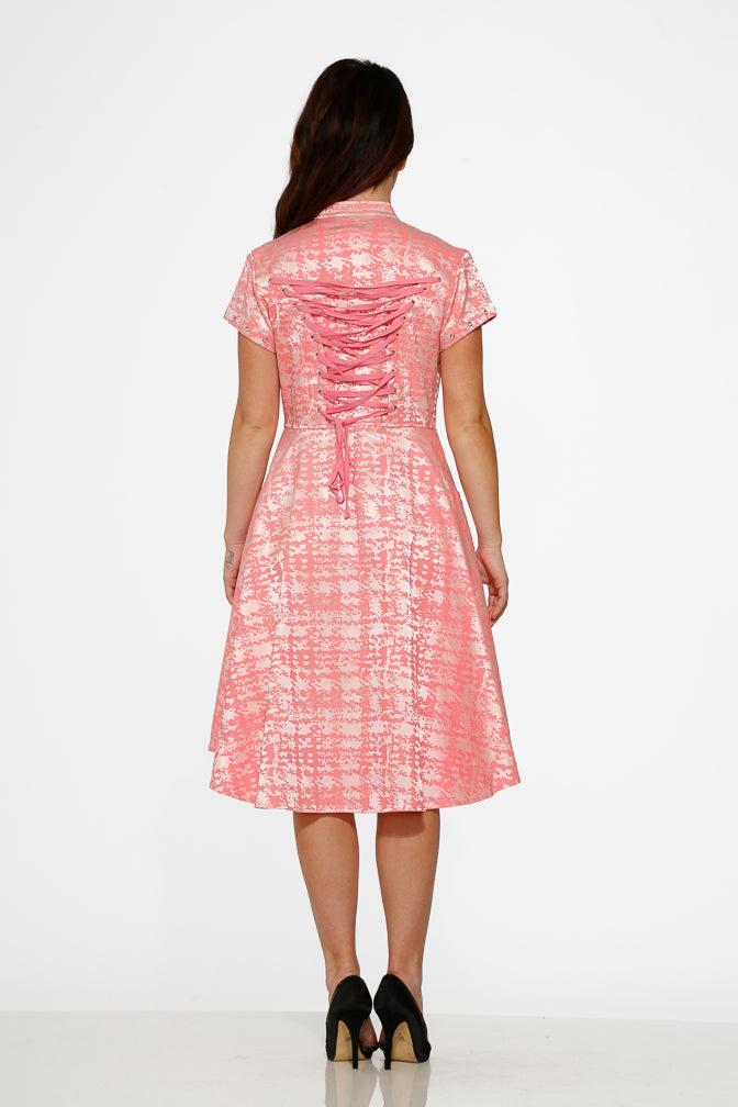 10273 Pink Jacquard HiLo Dress
