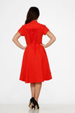 10276 Red Jacquard HiLo Dress