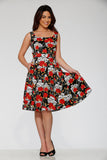 20100 Black Red Rose With Skulls Dress