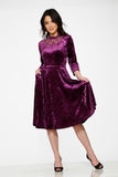 20112 Purple Diamond Velvet Dress