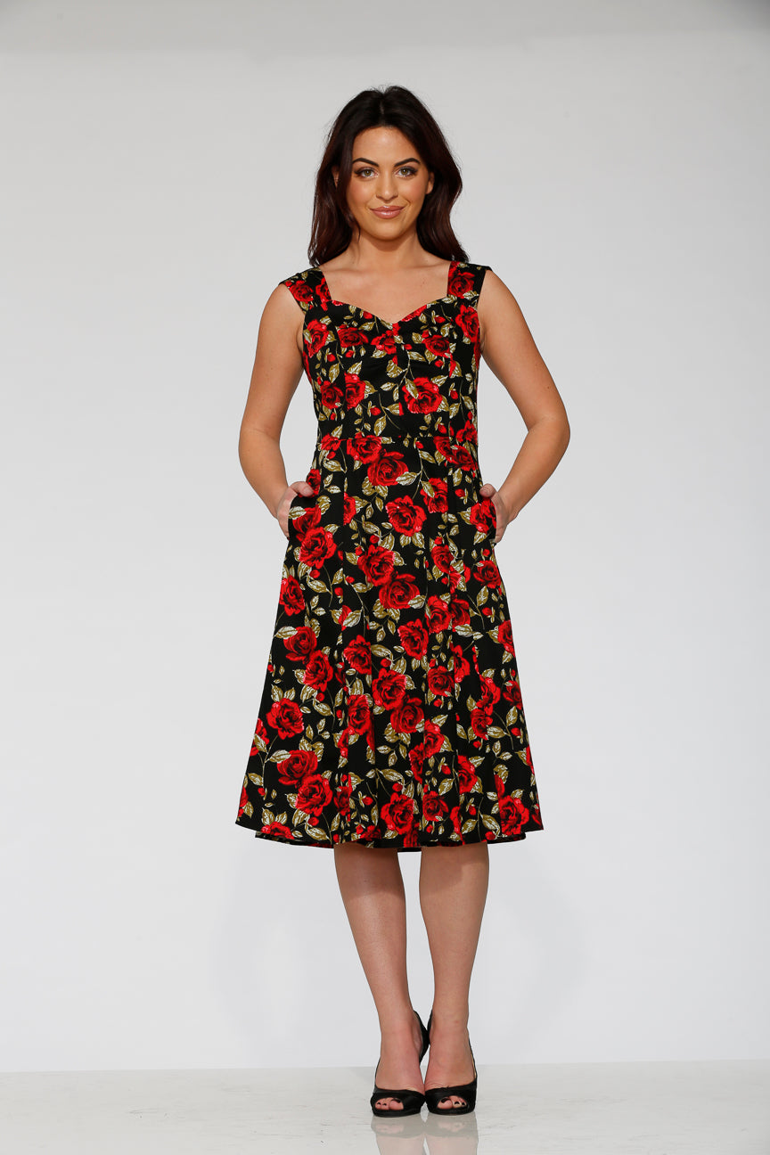 20120 Black Red Rose Dress