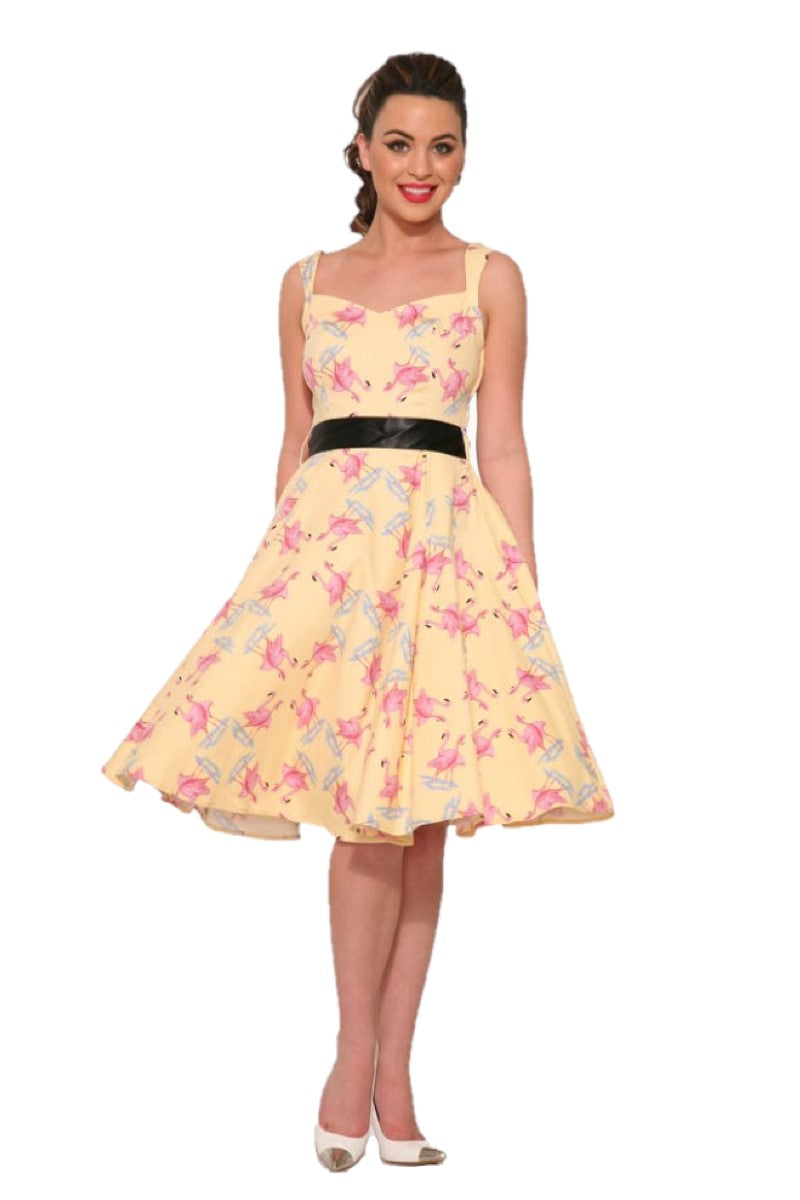 2017 Flamingo Love Swing Dress in Yellow