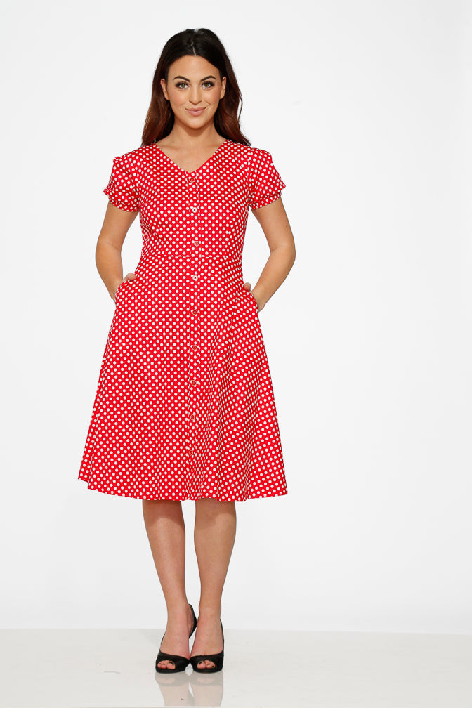 20231 Red White Polka Dot Dress