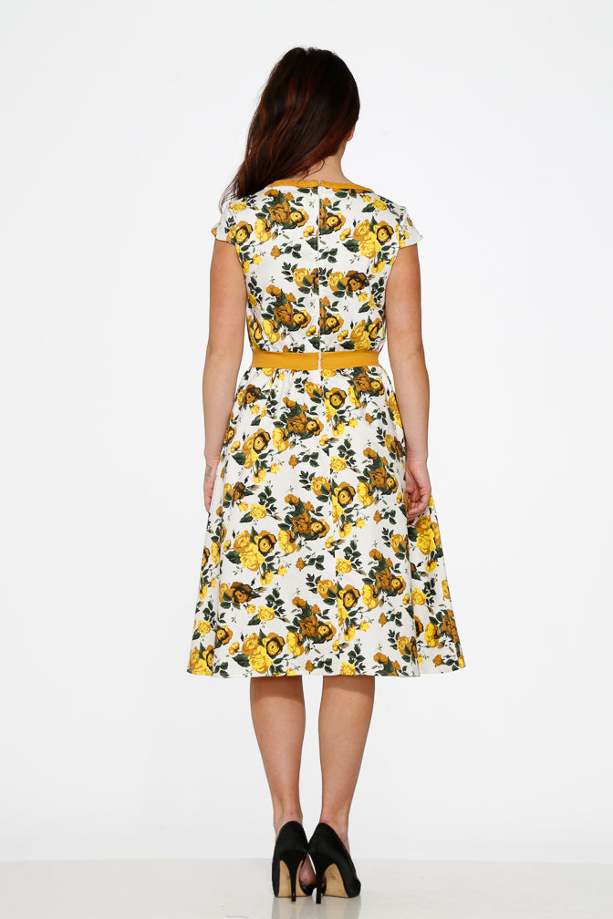 20280 Yellow Floral Dress