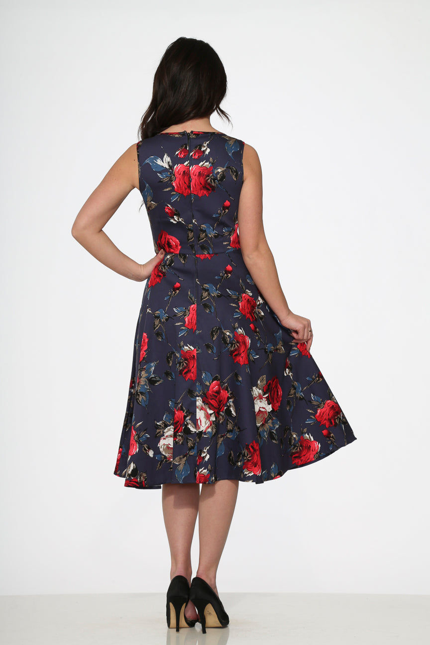 20350 Navy Red Floral Dress