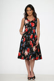 20351 Black Red Rose Dress