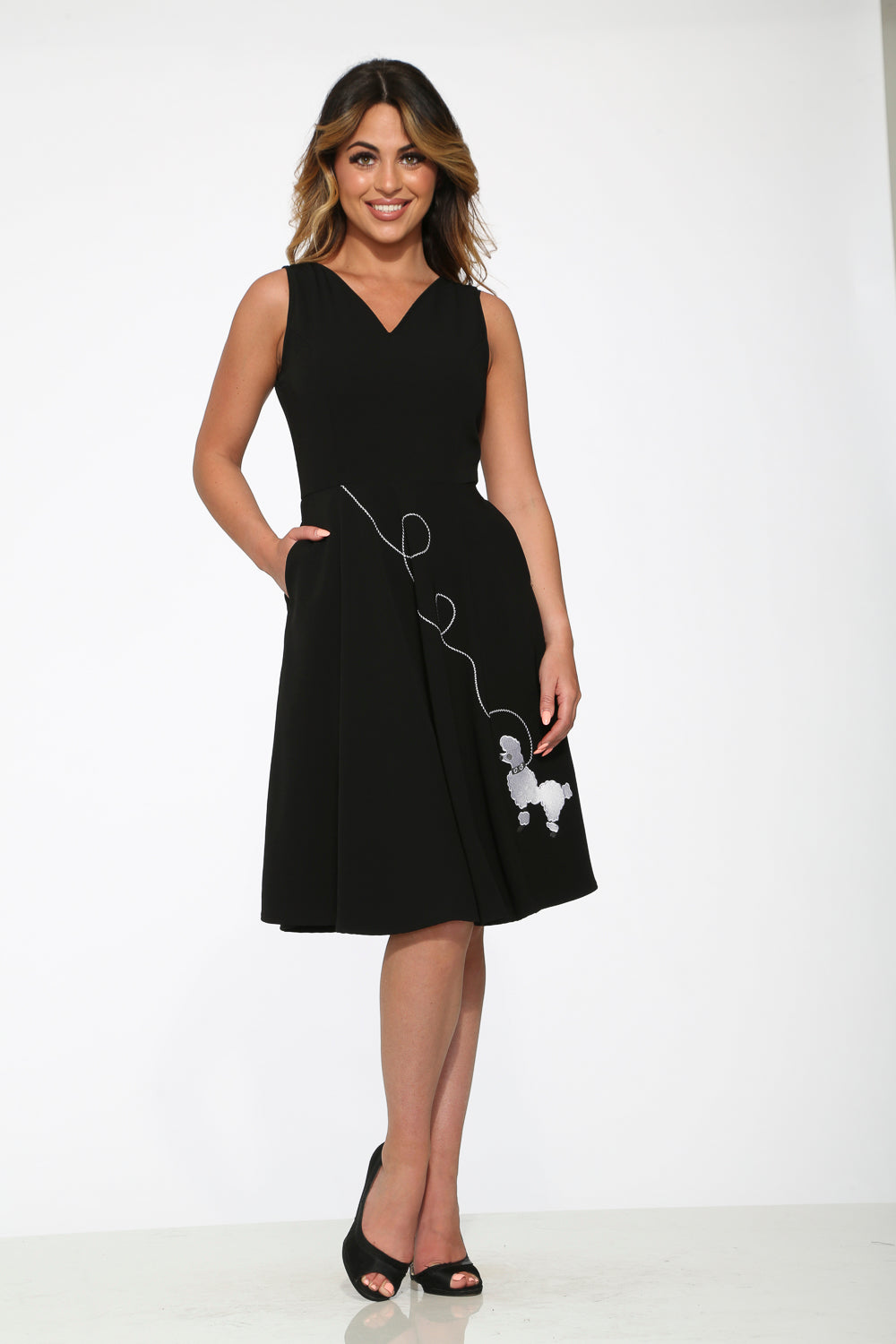 20730 Black Embroidered Puddle Swing Dress