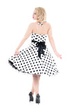 0211 Minnie Halter White Polka-Dot Dress