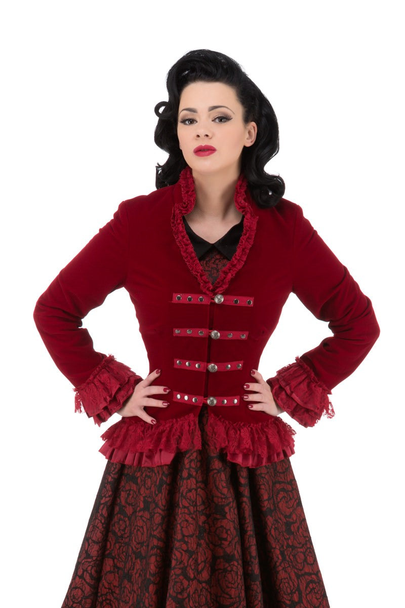 3034 Gloria Jacket in Red Velvet