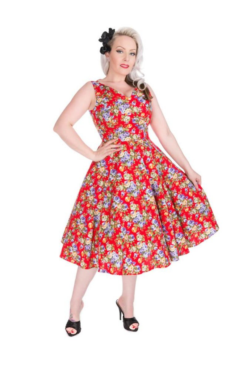 3199 Red Floral Swing Dress