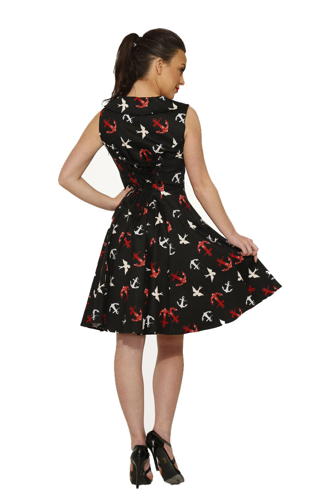 3231 Nellie Dress in Black Sunken Swallows Print