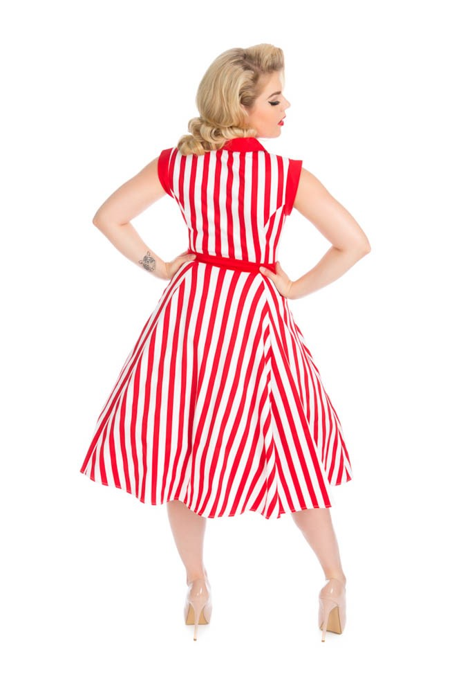 3379 Striped Tea Dress in Red and White