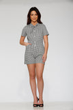 40230 White Black Gingham Romper