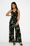 40240 Black Green Leaf Jumpsuit