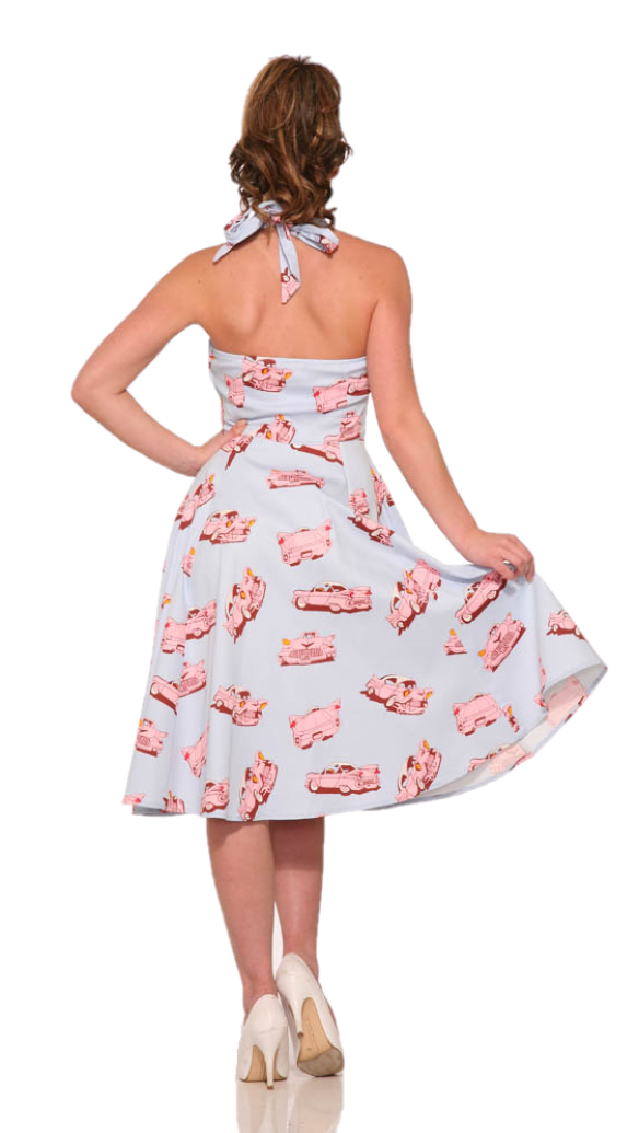 4111 Car Hop Halter Swing Dress