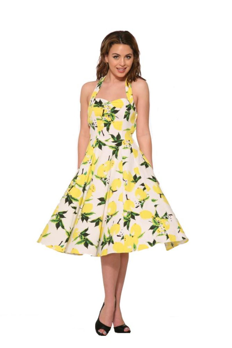 4111 Lemon Halter Swing Dress