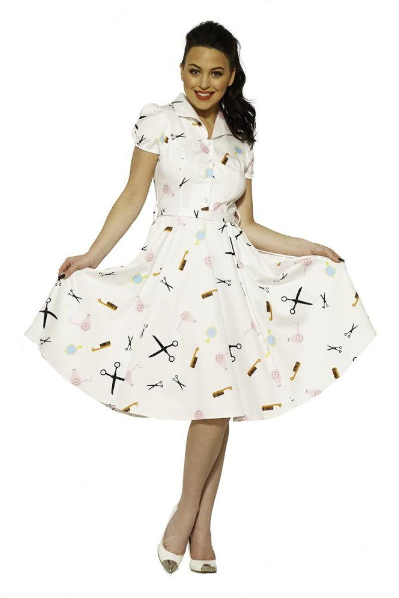 4160 White Peggy Dress in Beauty Salon Print