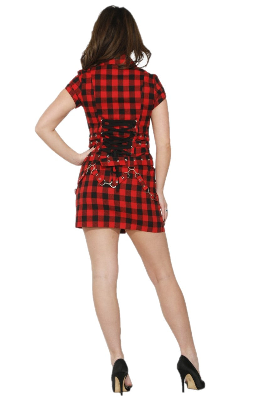 60407 Black Red Check Dress