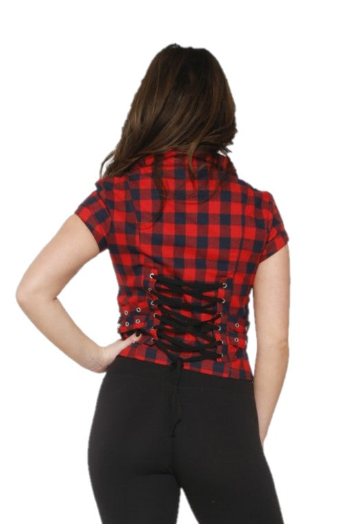 60428 Navy Red Check Top