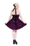 6375 Minnie Halter Mini Dress in Purple Dots