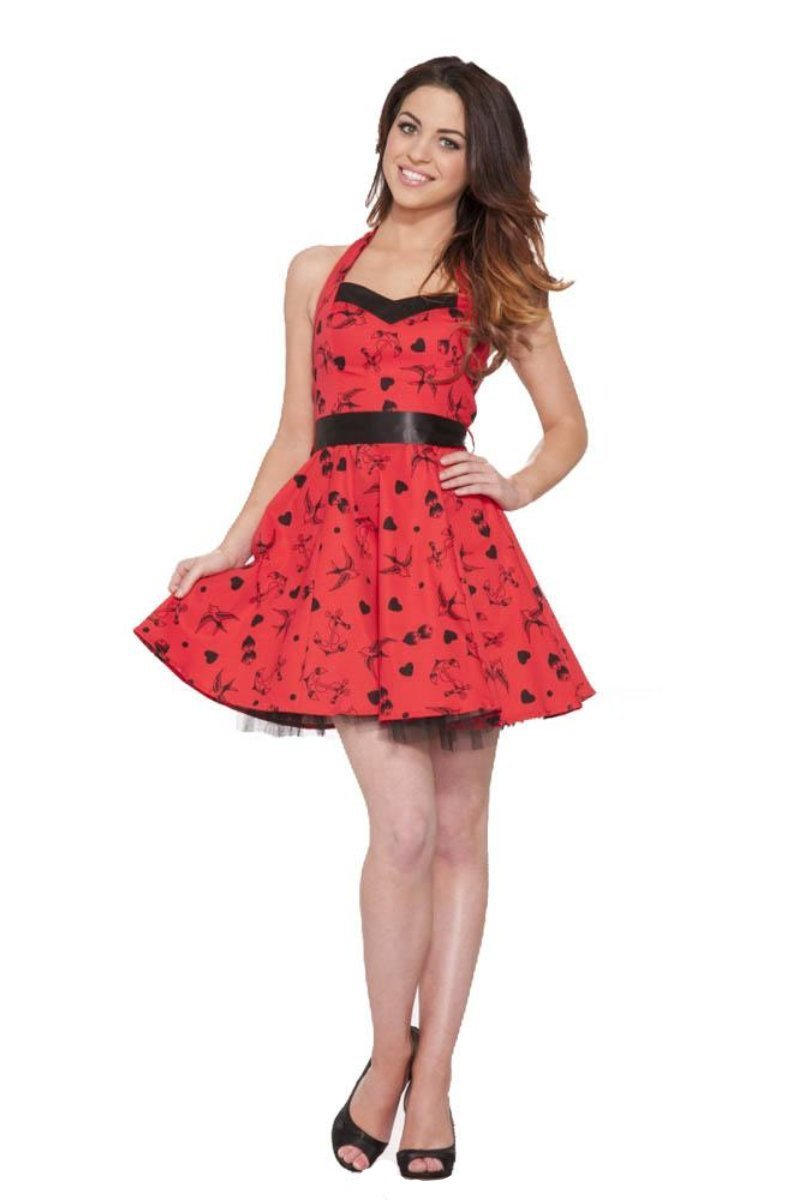 6375 Red Tattoo Mini Dress