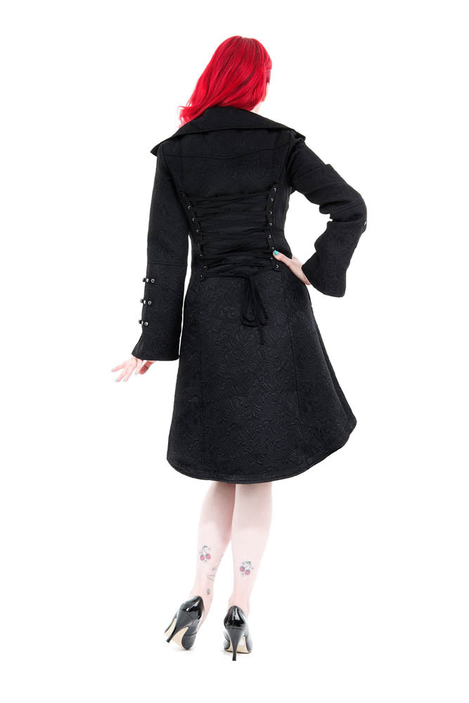 6486 Blair Coat in Black Brocade