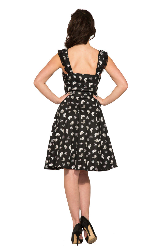 6672 Skull Baby Swing Dress In Black Hearts And Roses Usa