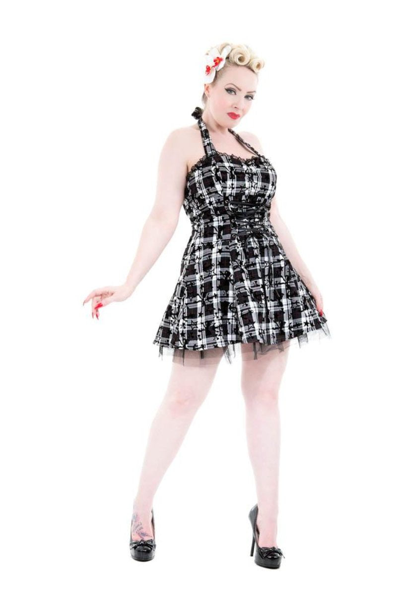 6733 Plaid Tattoo Mini Dress in B&W