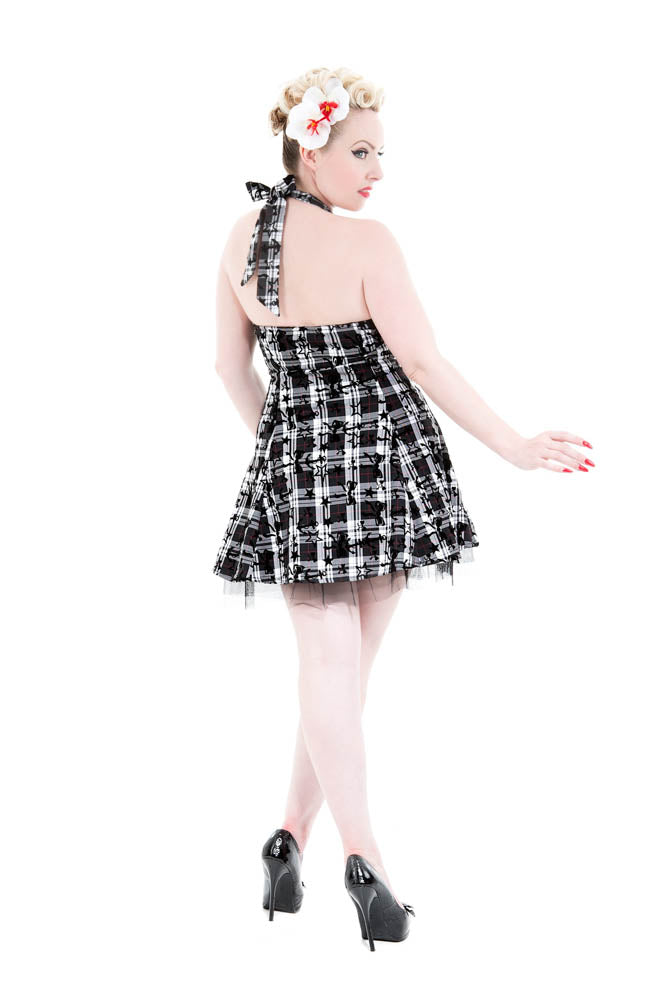 6733 Plaid Tattoo Mini Dress In Bw Hearts And Roses Usa