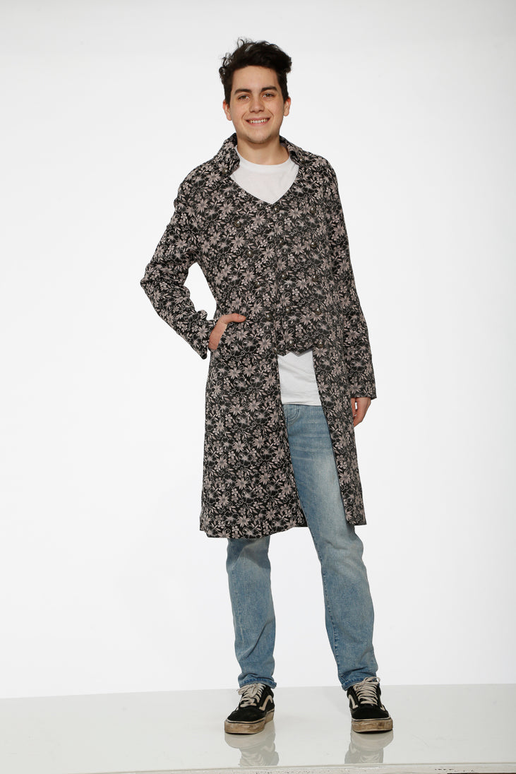 80011 Gray Jacquard Men's Coat