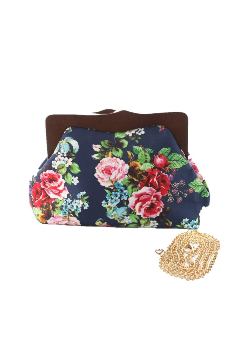 8401 Rose Bouquet Floral Wood Clutch Bag