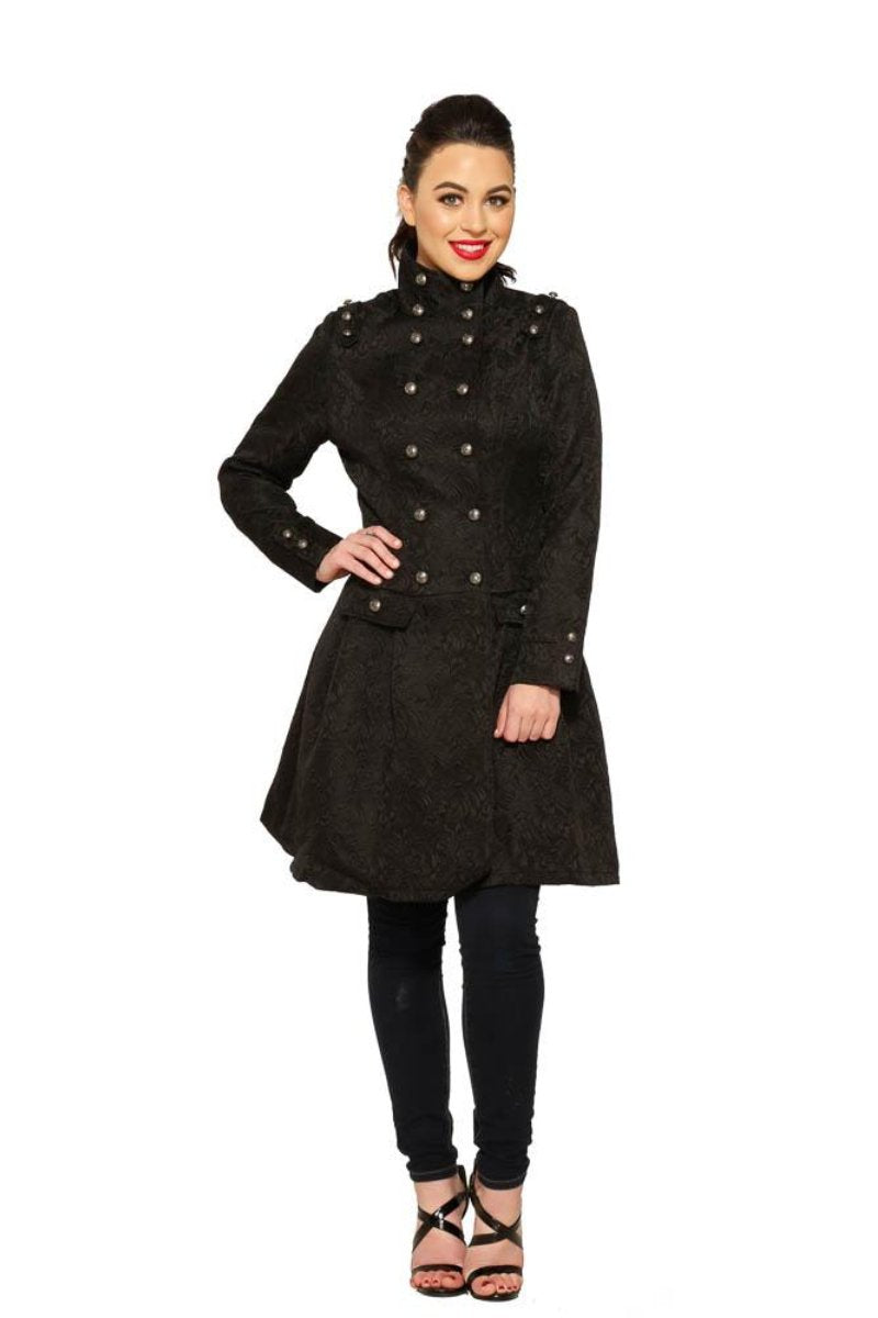 9190 Marcella Flared Brocade Coat